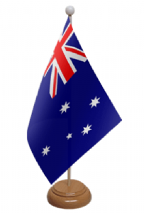 Australia Desk / Table Flag with wooden stand and base
